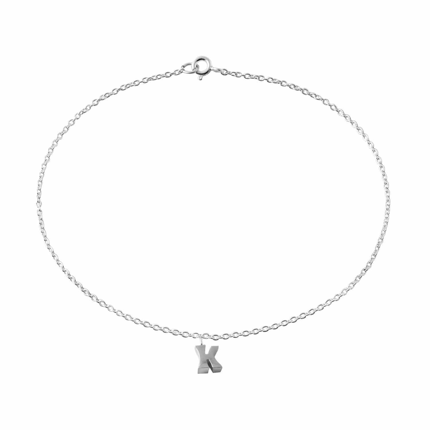 """Classic Sterling Silver """"K"""" Initial Dangle Anklet"""