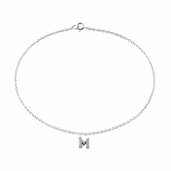 """Classic Sterling Silver """"M"""" Initial Dangle Anklet"""