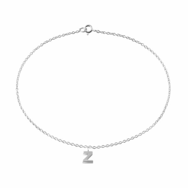 """Classic Sterling Silver """"Z"""" Initial Dangle Anklet"""