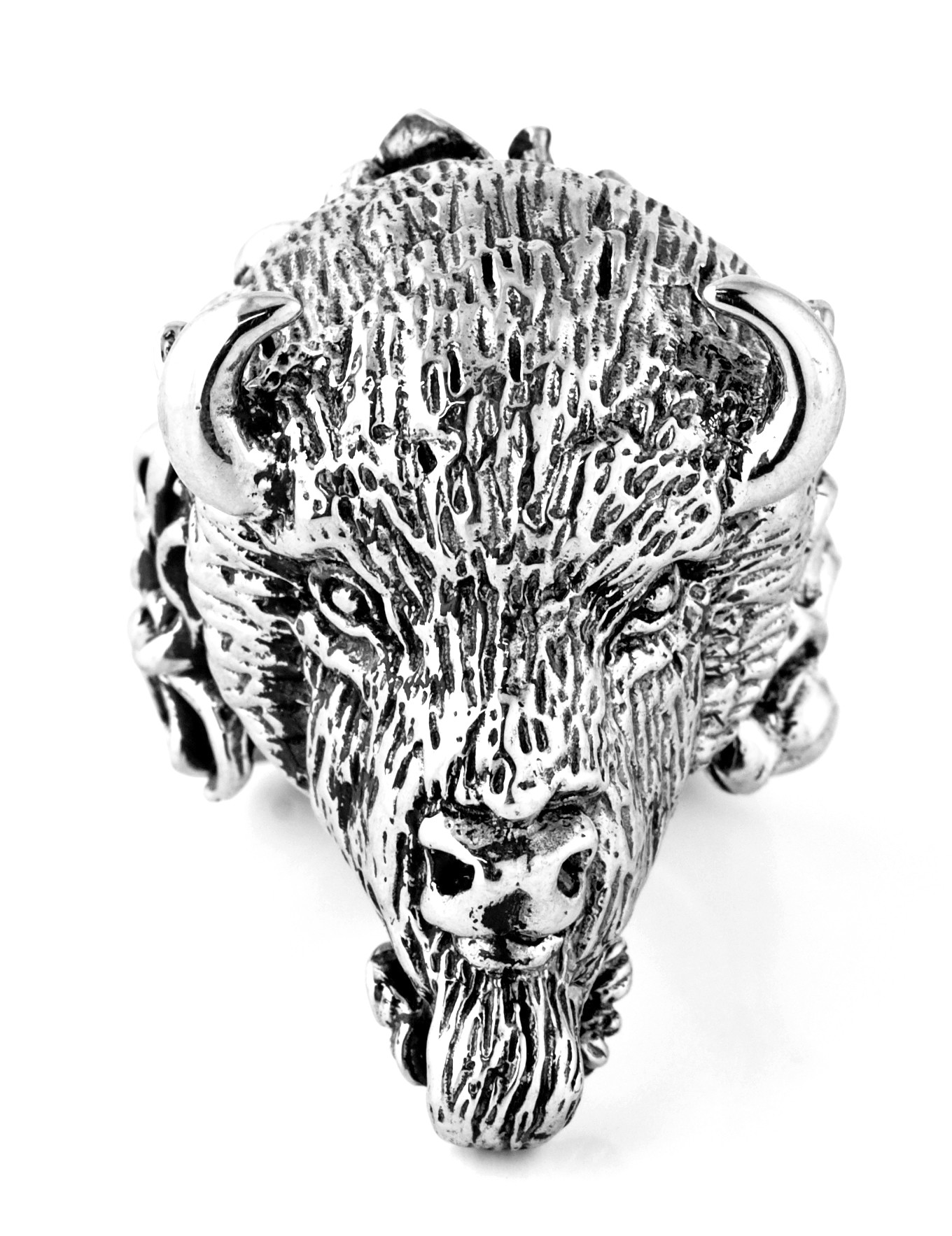 Mens Bison Head Ring in Sterling Silver .925